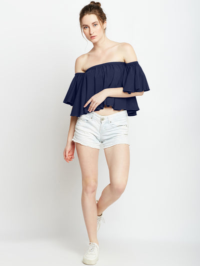 Blue Solid Bardot Top