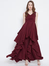 Berrylush Maroon Solid Maxi Dress - Berrylush
