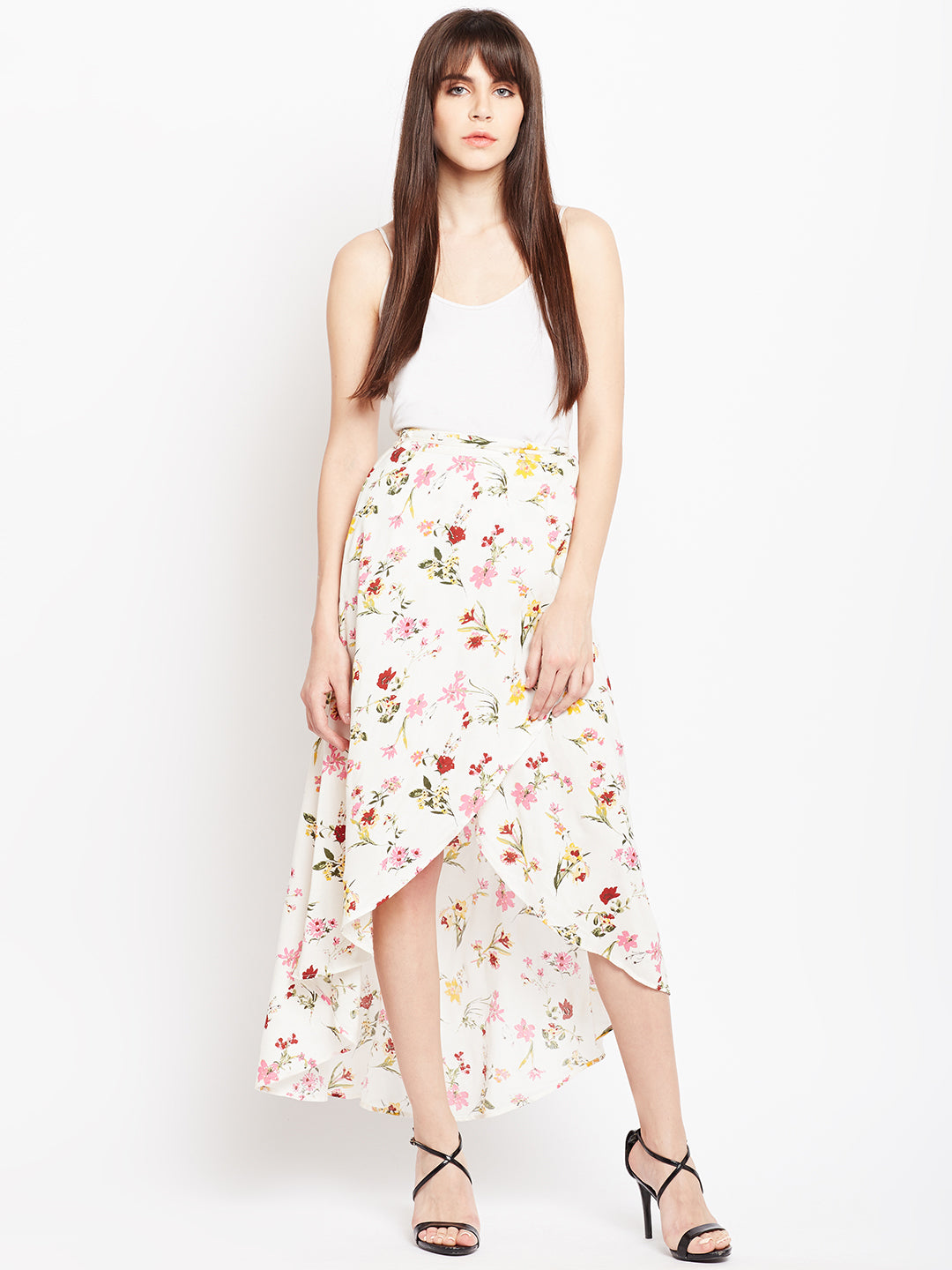 Berrylush Women White Printed Slit Skirt