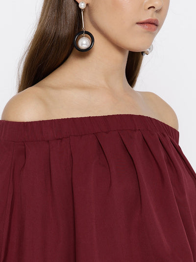 Maroon Solid Off-Shoulder Layered Maxi Dress