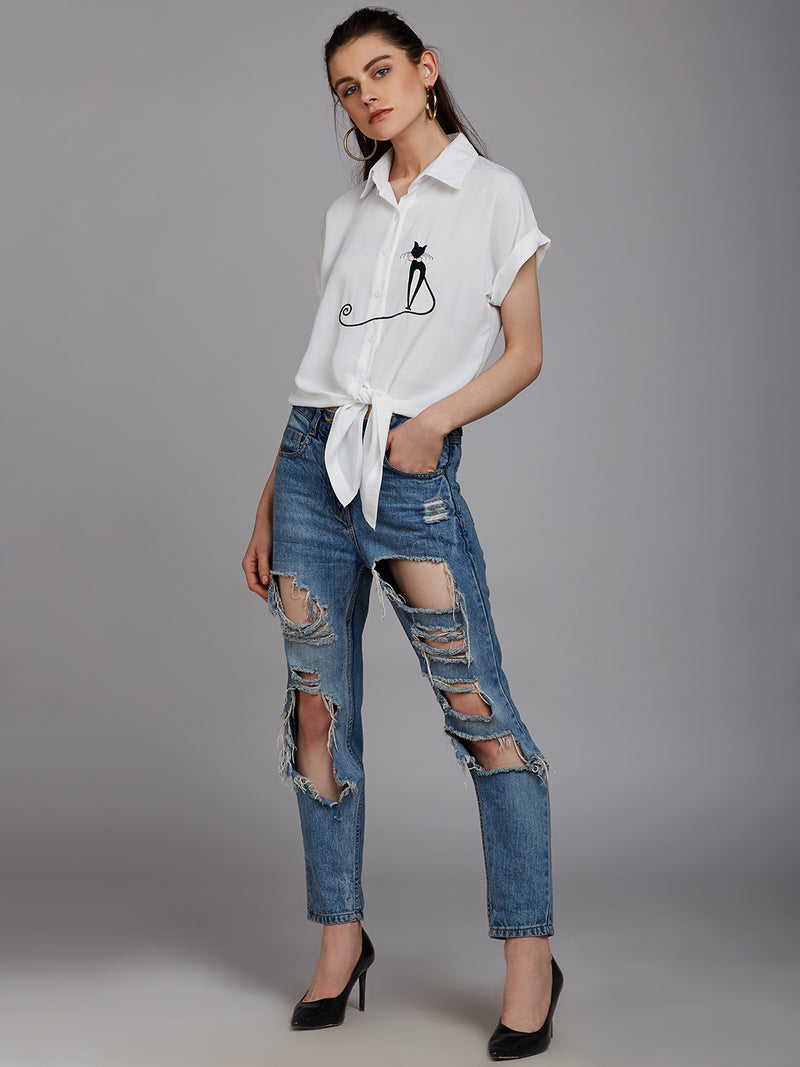 Berrylush White Embroidered Casual Shirt