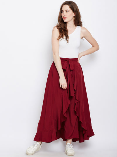 Maroon Solid  Ruffled Wrap Maxi Skirt with Attached Palazzo - Berrylush