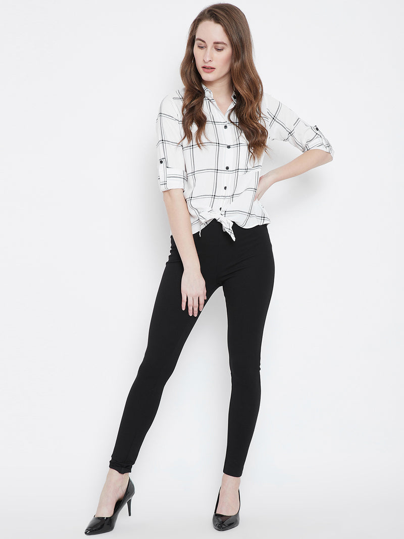White & Black Checked Shirt Style Top