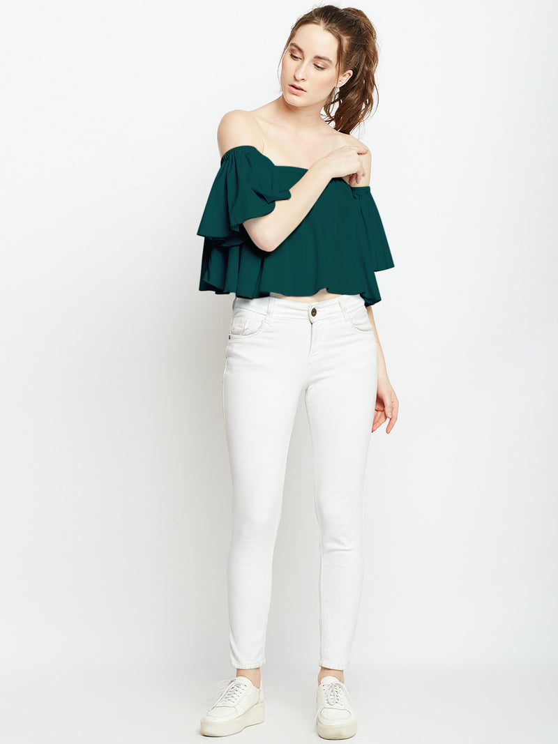 Green Solid Blouson Top