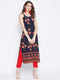 Berrylush Women Navy Blue & Orange Printed Straight Kurta