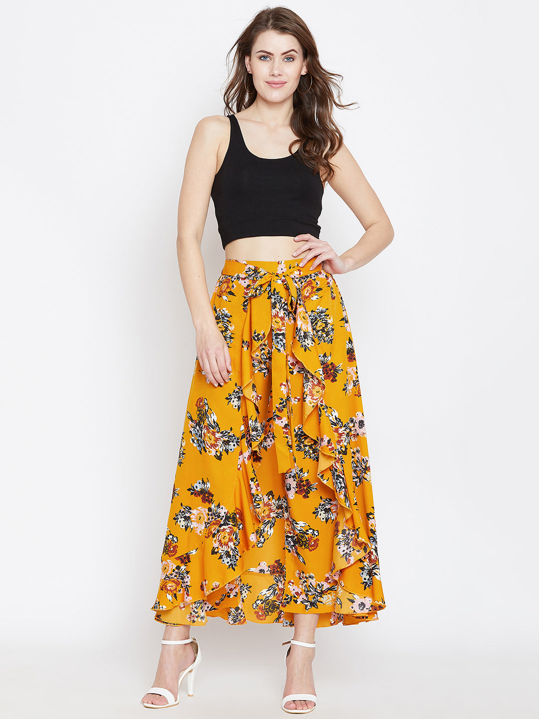 Mustard Yellow Printed Flared Maxi Skirt - Berrylush