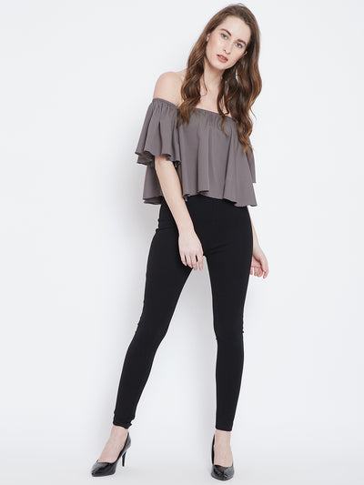 Berrylush Grey Solid Bardot Top - Berrylush