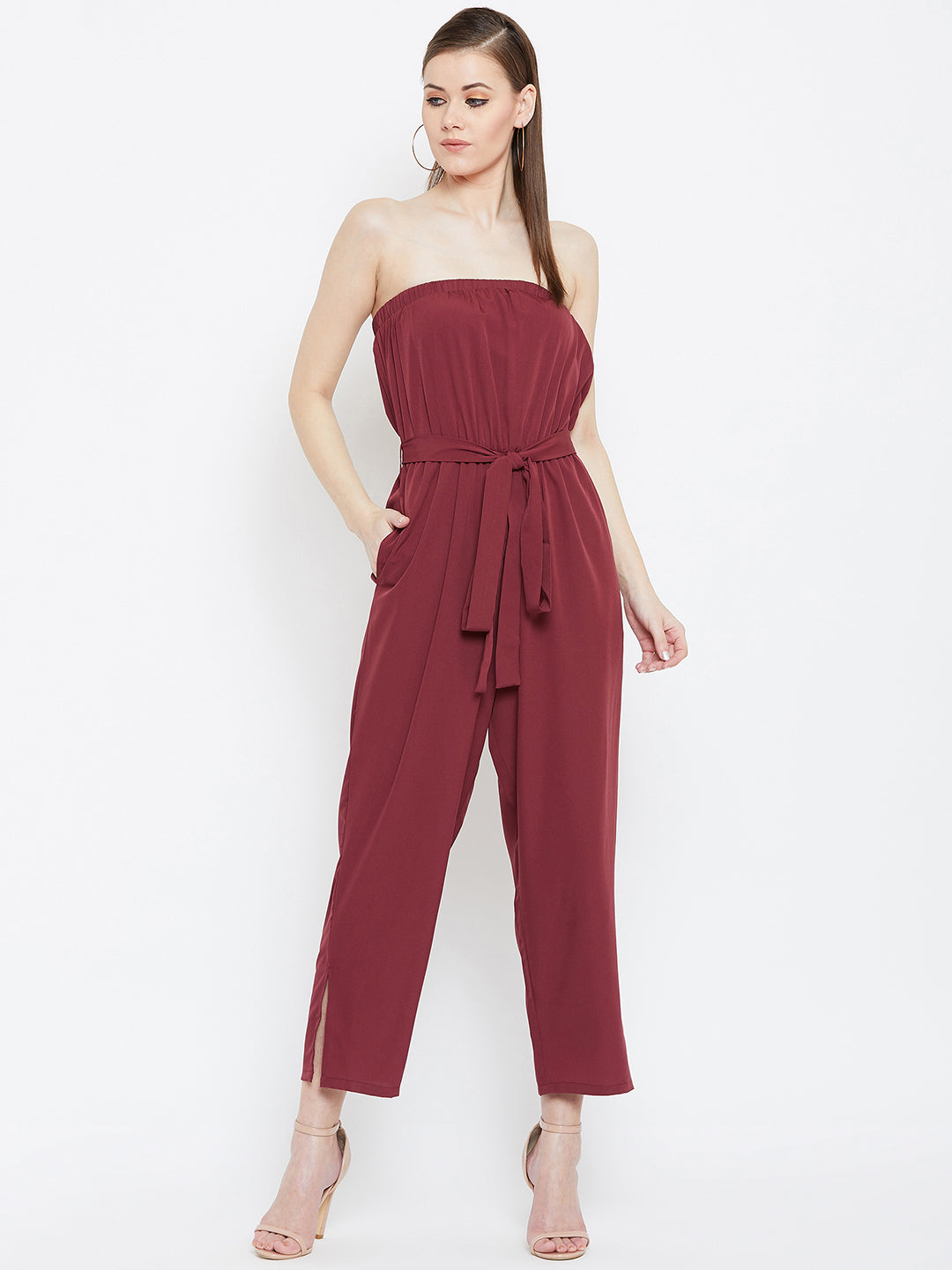 off shoulder maroon  jumpsuit with tie-knot waist