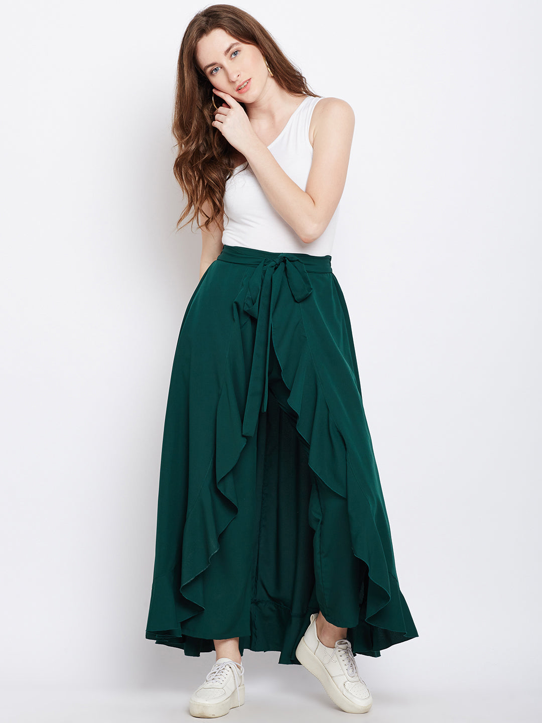 Berrylush Women Green Solid Ruffled Flared Maxi Skirt with Attached Trousers