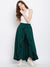 Berrylush Green Solid Ruffled Flared Maxi Skirt with Attached Trousers