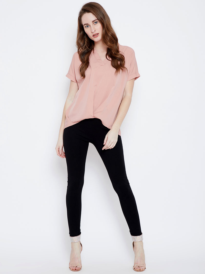 Pink V-neck Solid Top