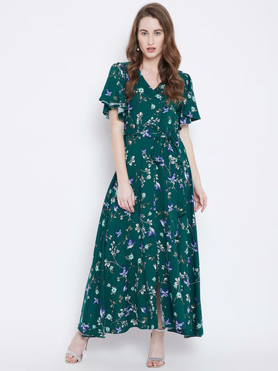 Berrylush Green Printed Maxi Dress