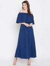 Berrylush Women Solid Blue Maxi Dress