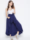 Berrylush Women Navy Blue Solid Flared Maxi Skirt