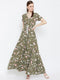 Berrylush Women Olive Green & White Maxi Dress