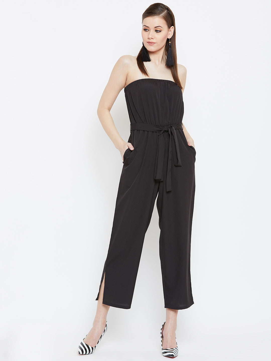 off shoulder black  jumpsuit with tie-knot waist