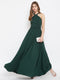 Berrylush Women Green Halter Neck Flared Maxi Dress