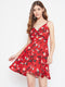 Berrylush Women Red Floral Print Front Twist Knot Dress