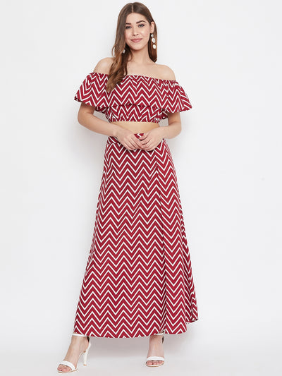 Berrylush Women Maroon and White Chevron Print Two Piece Dress