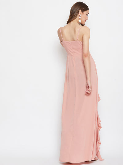 Berrylush Women Pink Ruffled Maxi Dress