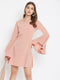 Berrylush Women Pink Solid Flared Sleeves A line Dress