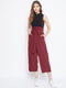 Berrylush Maroon Strap Jumpsuit With Styled Front And Smocked Back