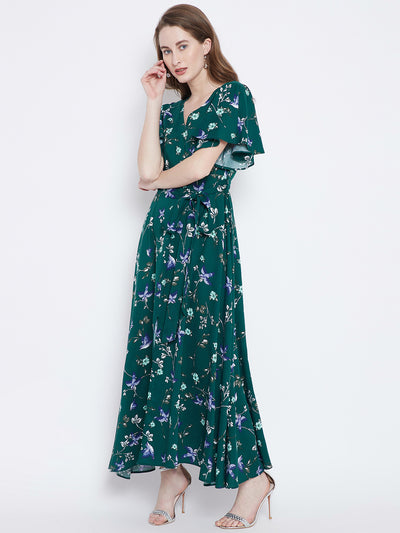 Berrylush Green Printed Maxi Dress - Berrylush