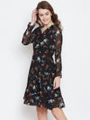 Berrylush Women Black Printed Wrap Dress