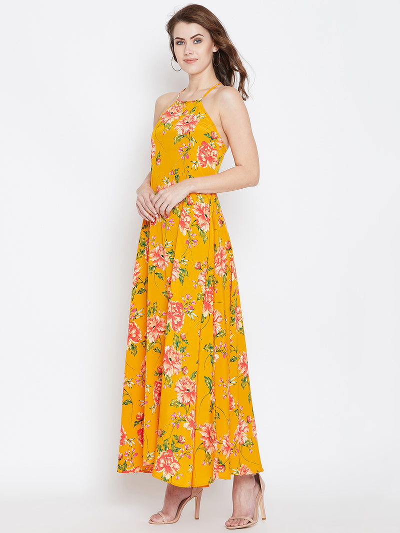 Berrylush Women Yellow & Red Floral Print Maxi Dress