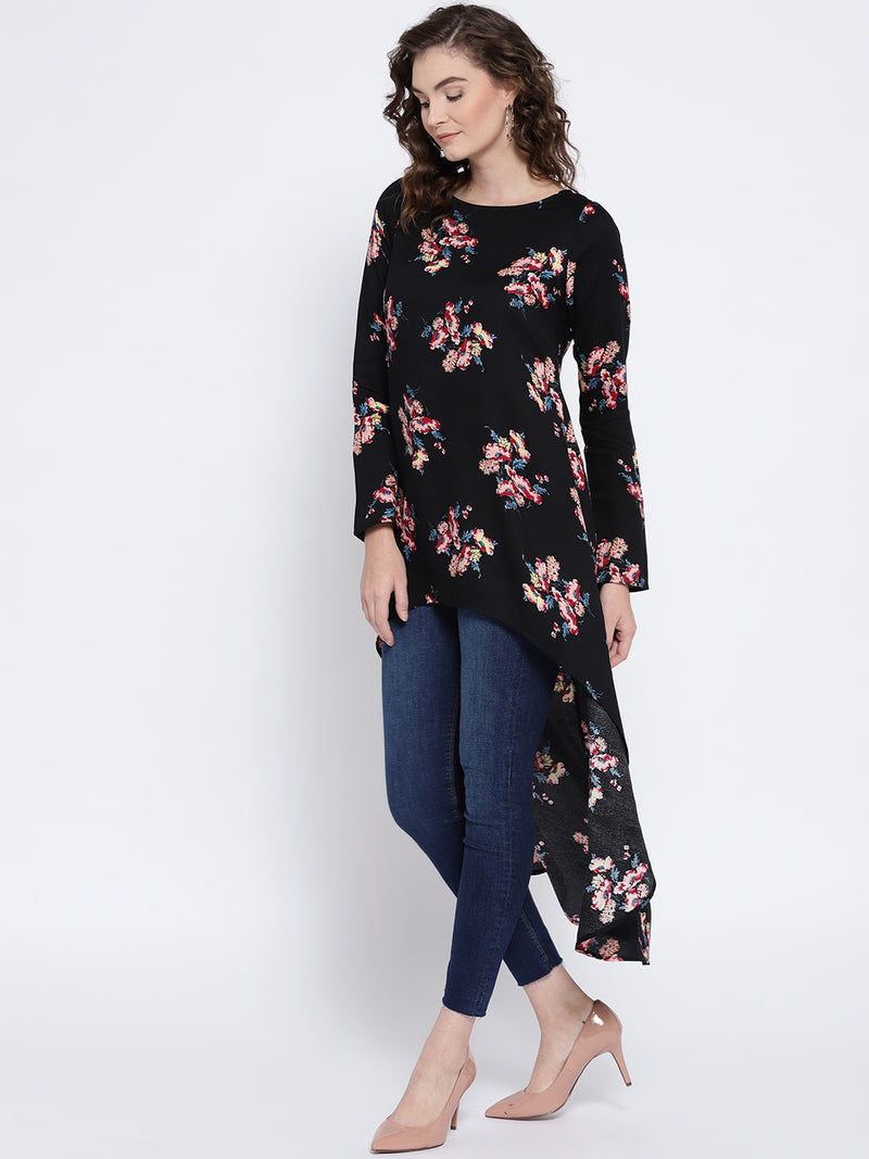 Berrylush Women Black Printed High-Low Top