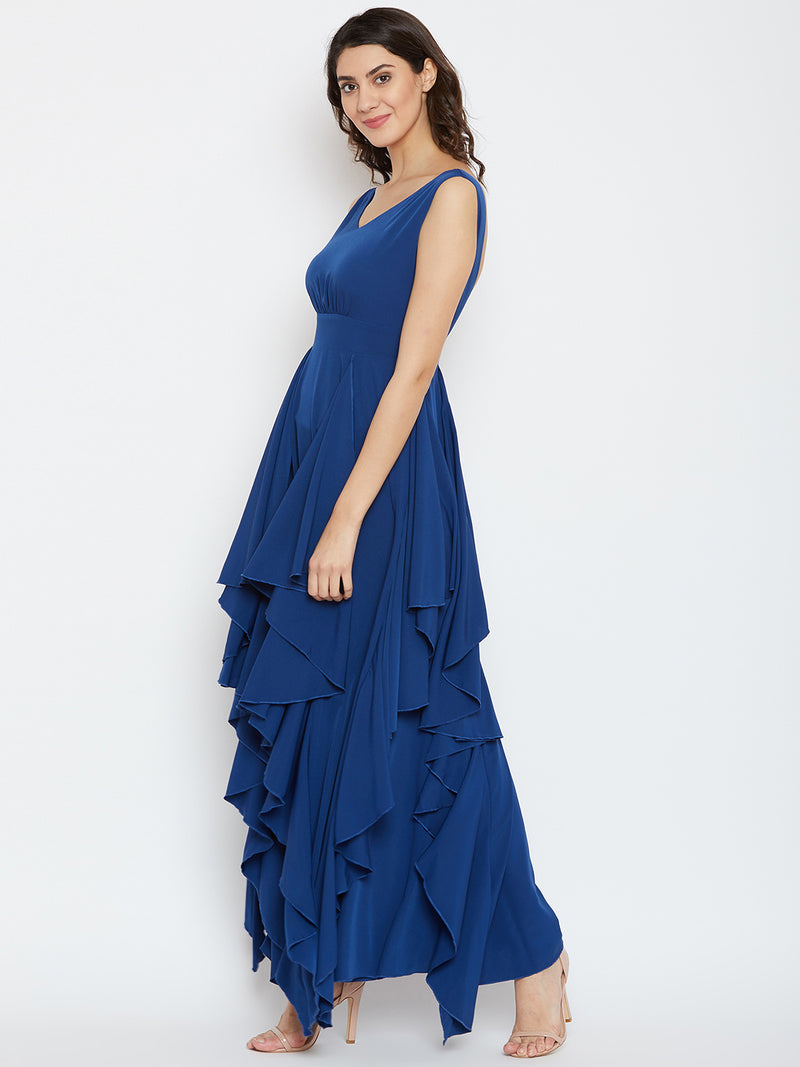 Berrylush Women Blue Solid Maxi Dress
