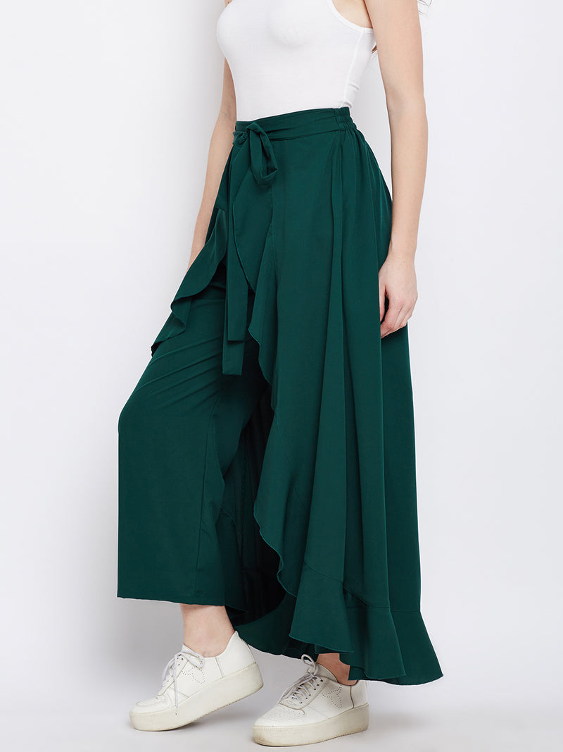 Green Solid Ruffled Wrap Maxi Skirt with Attached Palazzo