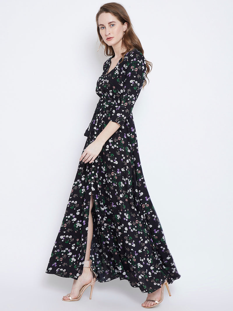Berrylush Women Black Printed Maxi Dress
