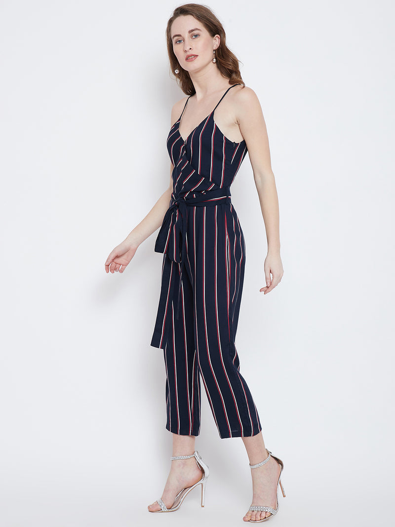 Berrylush Women Navy Blue Stripe Culotte Jumpsuit