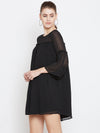 Berrylush Women Black Self Design A-Line Dress