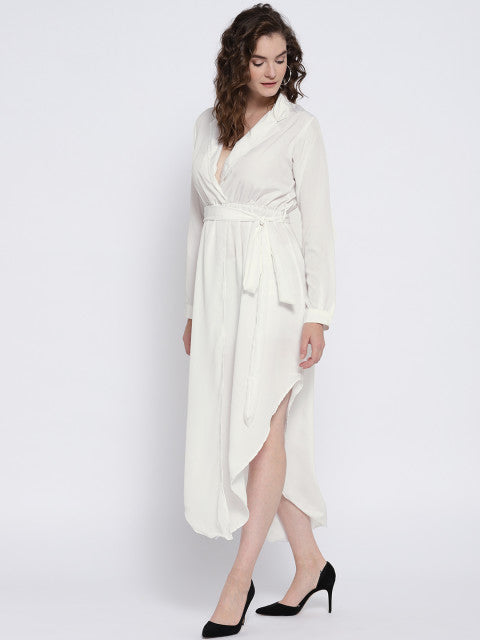 White Solid Empire Dress