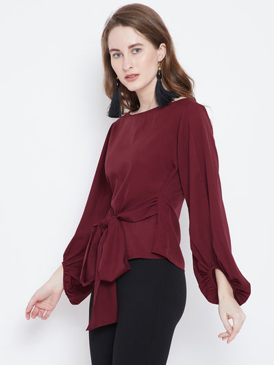 Maroon Solid A-Line Top - Berrylush