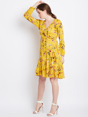 Yellow printed mini dress