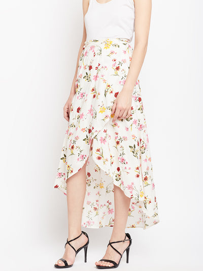 White Printed Slit Skirt - Berrylush