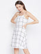 Berrylush Women White & Black Checked Fit and Flare Dress