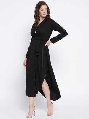 Tie Waist Side Slit Shirt Dress