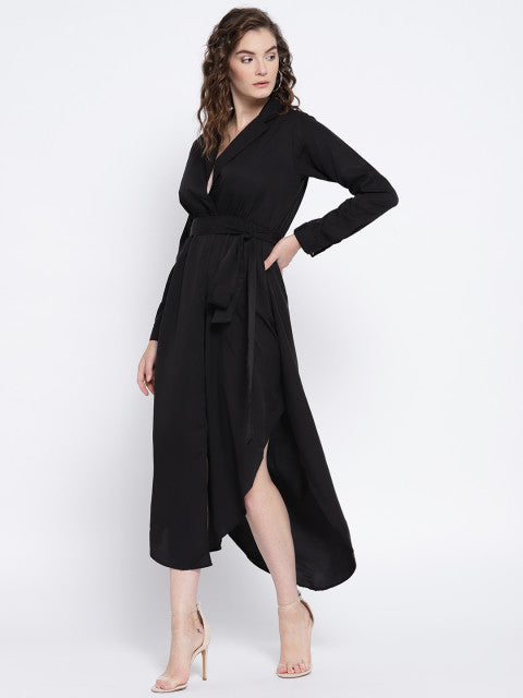 Black Solid Empire Dress