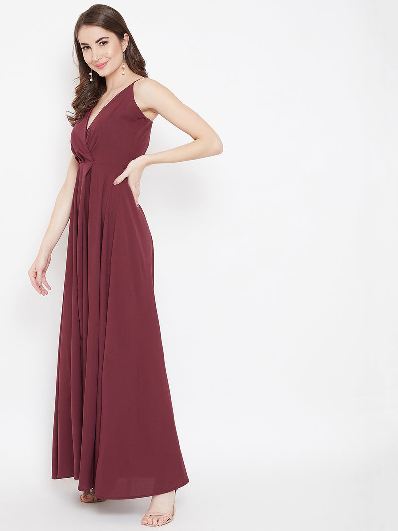 Berrylush Women Maroon Solid Maxi Dress