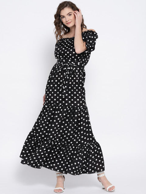 Berrylush Women Black & White Printed Off-Shoulder Maxi Dress