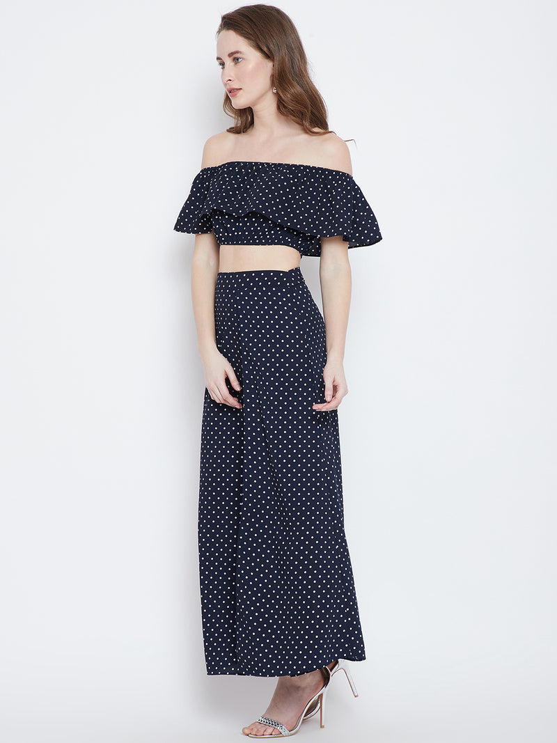 Navy Blue Printed Top with Maxi Skirt - Berrylush