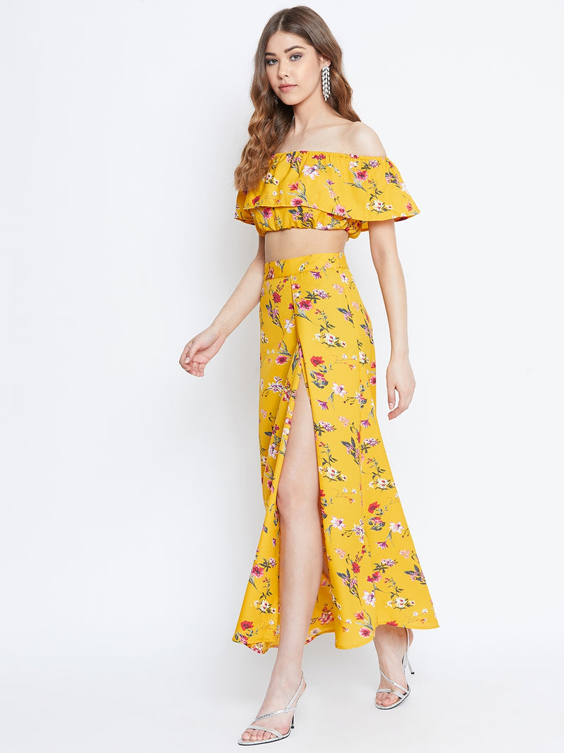 Berrylush Yellow Floral Printed Two-Piece Dress