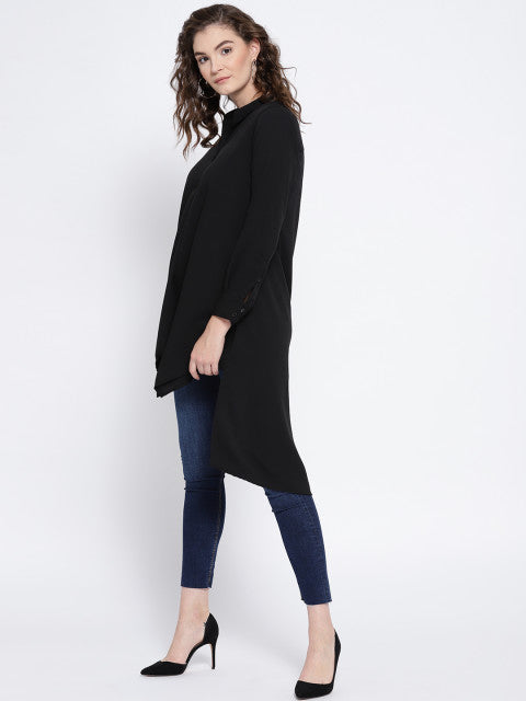 Stand Collar High Low Peasant Top
