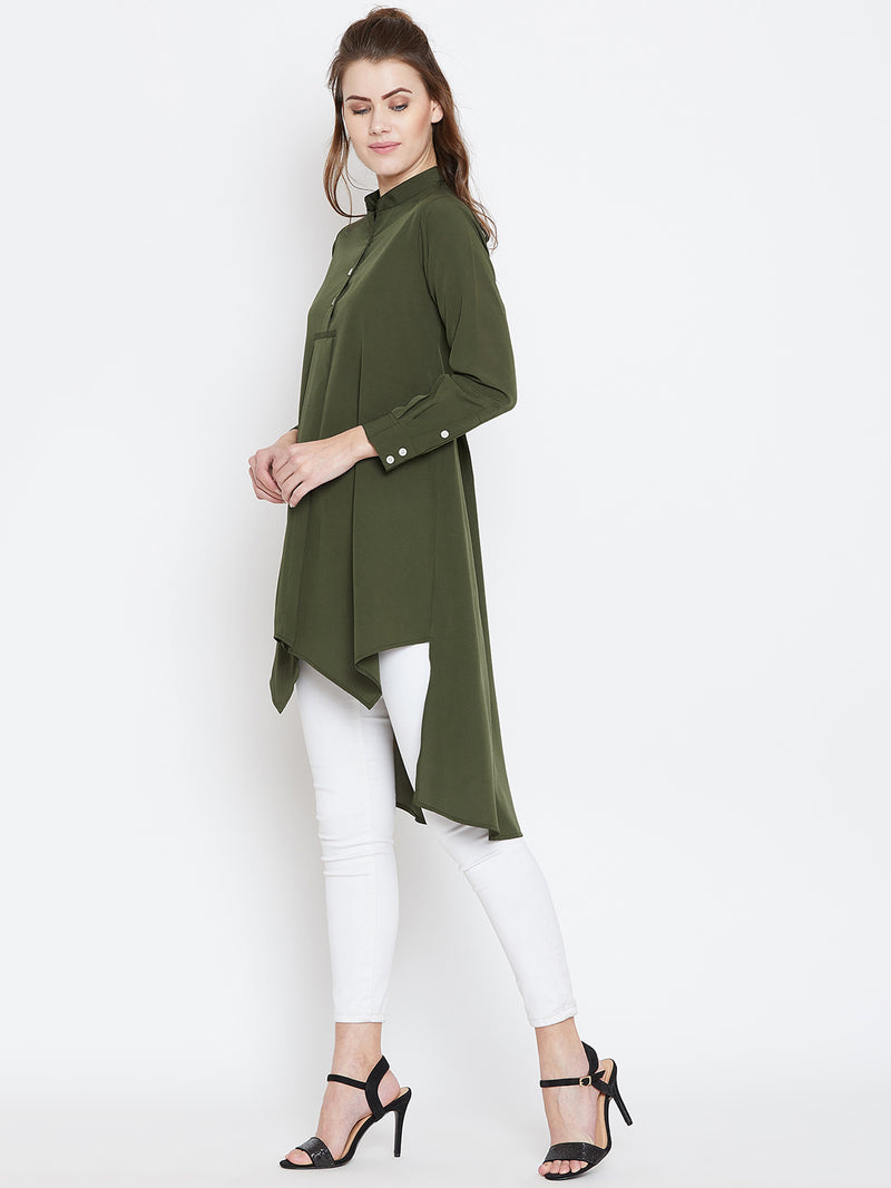 Berrylush Women Olive Green Solid High-Low Top