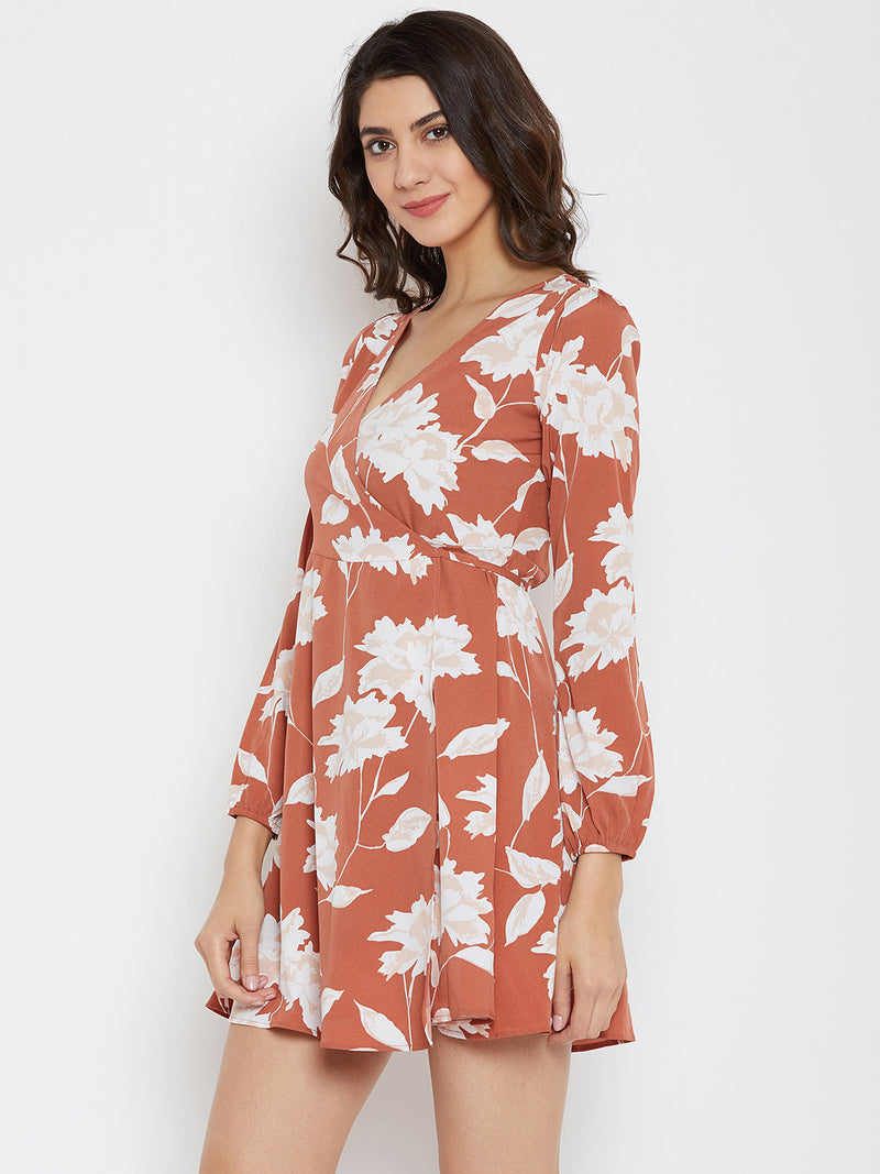 Brown Printed Wrap Dress