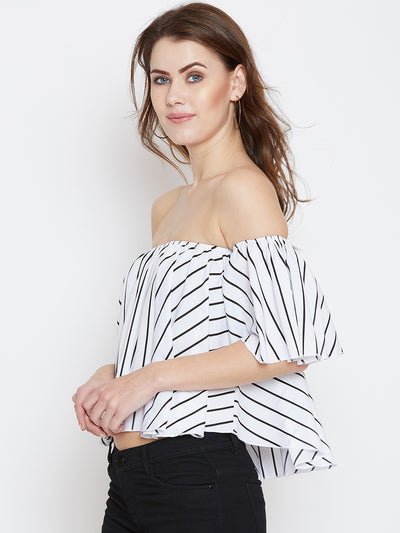 White Printed Bardot Top - Berrylush